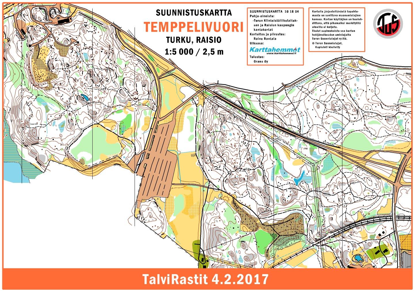 TalviRastit 422017 February 4th 2017 Orienteering Map from
